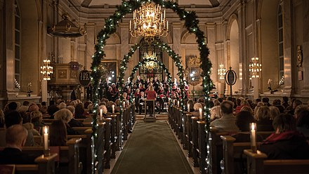Classical concerts are popular at Christmas, such as this performance in a church in Sweden DSC 2693 (11406583246).jpg