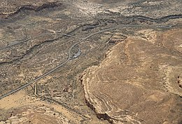 A color aerial picture of Chaco Canyon
