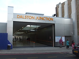 Dalston Junction railway station - North entrance on day of re-opening in April 2010