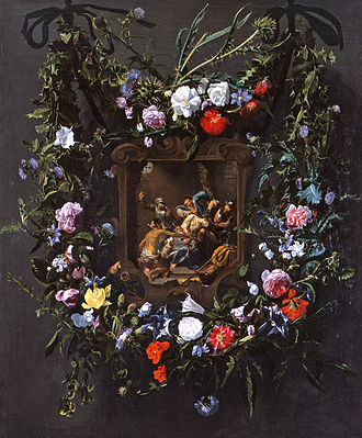 Daniel Seghers - Garland of flowers surrounding a mocking of Christ, figures by Simon de Vos