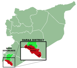 Daraa - Location of Daraa city in the namesake district and governorate.