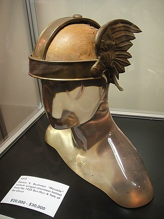 Ben-Hur: A Tale of the Christ (1925 film) - Messala's winged helmet, worn by Francis X. Bushman in Ben-Hur, sold at the Debbie Reynolds auction of film memorabilia (2011)