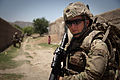 Defense.gov News Photo 110603-A-UJ825-169 - U.S. Army Spc. Josh Brimm with the 307th Psychological Operations Company stands guard along a dirt road near Malajat in Kandahar province.jpg