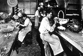 Delmonico's - Pièces montées for a banquet being prepared in the Delmonico's kitchen in 1902