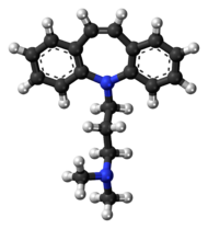 Ball-and-stick model of the depramine molecule