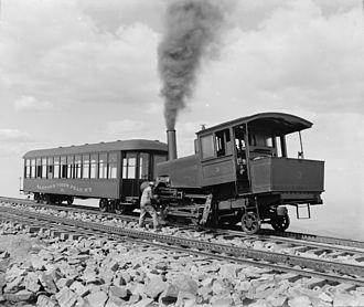 Manitou and Pike's Peak Railway - Pikes Peak Cog Railway locomotive and car, circa 1900