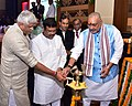 Dharmendra Pradhan along with the Minister of State for Micro, Small & Medium Enterprises (IC), Shri Giriraj Singh and the Minister of State for Agriculture and Farmers Welfare.JPG