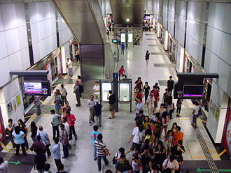 Dhoby Ghaut MRT station - Busy NEL platforms in the station