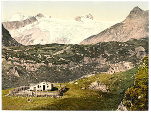 Großvenediger - Johannishütte with Großvenediger, photochrom print, c. 1900