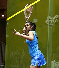 Dipika Pallikal (India) defeated Jaclyn Hawkes (New Zealand) in the women's semifinals 06 (cropped).jpg