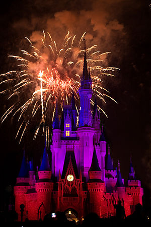 Fireworks show over Cinderella Castle, Walt Disneyworld, Florida