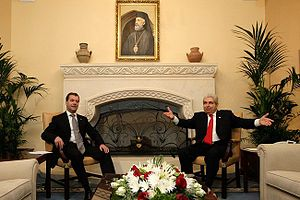 Presidential Palace, Nicosia - President of the Republic of Cyprus Demetris Christofias with president of Russia, Dmitry Medvedev