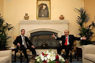 Presidential Palace, Nicosia - President of the Republic of Cyprus Demetris Christofias with President of Russia Dmitry Medvedev