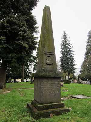 Gazelle (sidewheeler 1854) - Grave monument for Crawford Dobbins, victim of the 1854 explosion of Gazelle, in Lone Fir Cemetery, in Portland, Oregon.