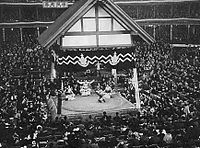Dohyo at Former Ryogoku Kokugikan Hall in 1936.JPG