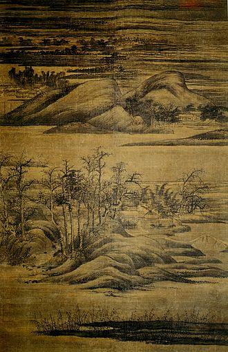 Dong Yuan - Image: Dong Yuan. Wintry Groves and Layered Banks ca. 950 (181,5x 116,5cm) Kurokava Inst. Hyogo