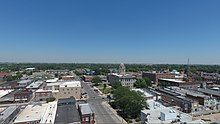 An aerial image of downtown Newton.