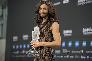 Austria in the Eurovision Song Contest 2014 - Wurst with the winner's trophy at the winner's press conference