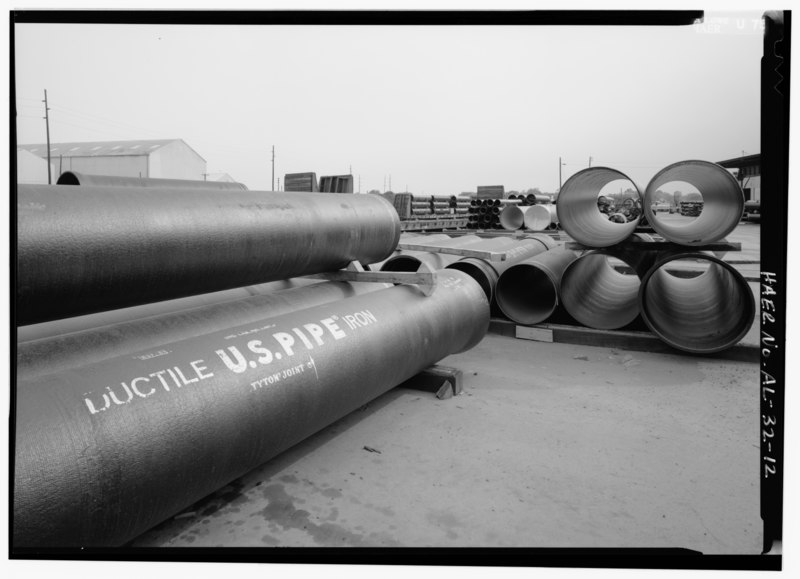File:EXTERIOR PIPE SHOT. - United States Pipe and Foundry Company Plant, 2023 St. Louis Avenue at I-20-59, Bessemer, Jefferson County, AL HAER ALA,37-BES,6-12.tif