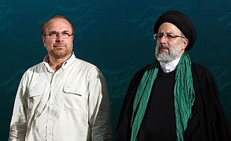 Iranian presidential election, 2017 - Ghalibaf appeared at Raisi's campaign rally in Tehran's Mosalla, 16 May 2017