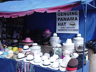 Panama hat - Panama hats sold on a street market in Ecuador