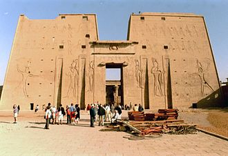 Ptolemy XII Auletes -  The first pylon at Edfu Temple was decorated by Ptolemy XII in 57 BC with figures of himself smiting the enemy.