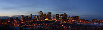 Downtown Edmonton's skyline at night.