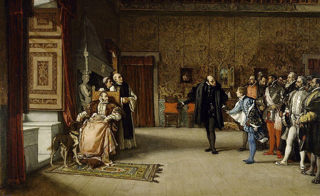 Juan de Austria es presentado al Emperador. Eduardo Rosales, 1868. Museo del Prado