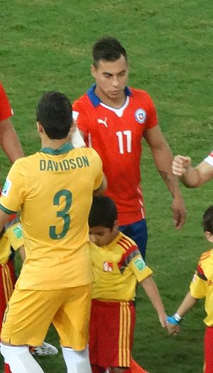 Eduardo Vargas - Vargas shaking hands with the Australian team before their group match at the 2014 FIFA World Cup