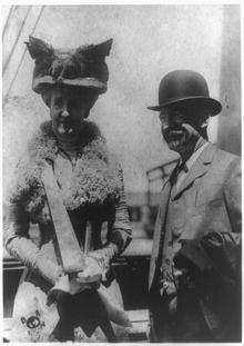 Edward Henry Harriman, railroad magnate, and wife, three-quarter-length portrait taken outdoors.tif