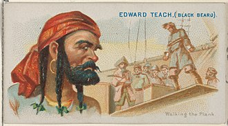 "Blackbeard - Edward Teach (Black Beard), Walking the Plank, from the ""Pirates of the Spanish"" series (N19), cigarette card by Allen & Ginter"
