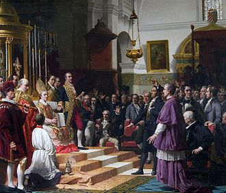 Spanish Constitution of 1812 - Cortes of Cadiz Oath in 1810. Oil painting by José Casado del Alisal, 1863.