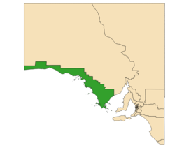 Map of South Australia with electoral district of Flinders highlighted