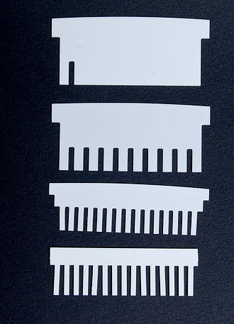 SDS-PAGE - Sample combs with different numbers of pockets, each prong leaves a pocket in the gel when pulled out