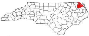 Elizabeth City, North Carolina micropolitan area - Location of the Elizabeth City Micropolitan Statistical Area in North Carolina