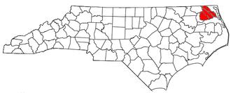 Elizabeth City, North Carolina micropolitan area - Location of the Elizabeth City Micropolitan Statistical Area in North Carolina