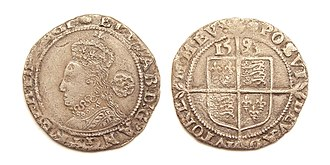 Sixpence (British coin) - Sixpence of Queen Elizabeth I, struck in 1593 at the Tower Mint.