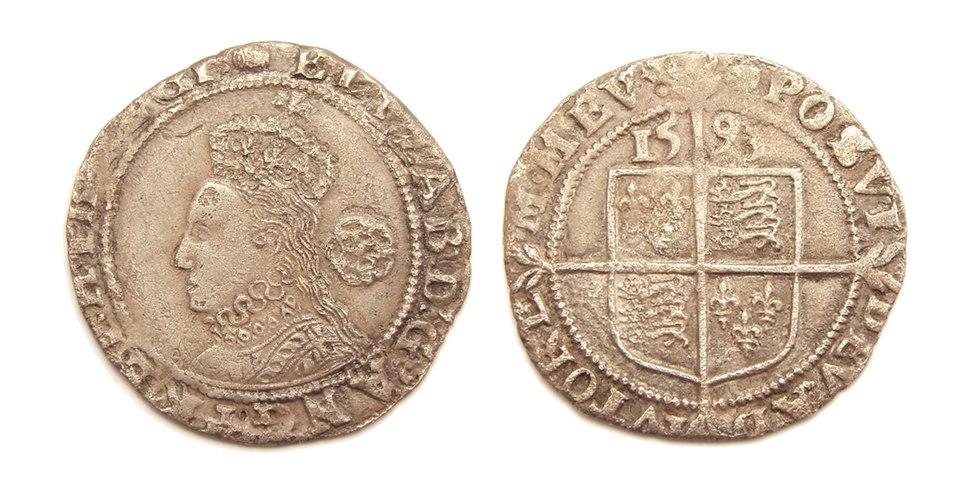 England Queen Elizabeth I sixpence 1593