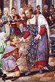 Enrico II di Francia che cura gli scrofolosi (miniatura XVI°).jpg
