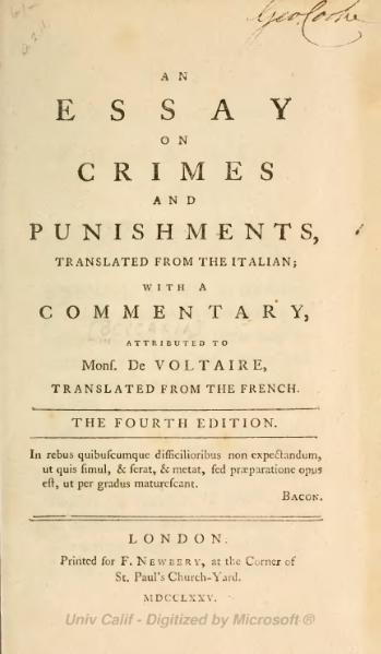 an essay on crime and punishment cesare beccaria Cesare beccaria begins his examination of crimes and  the punishment of a crime cannot be just if the  john locke an essay concerning.