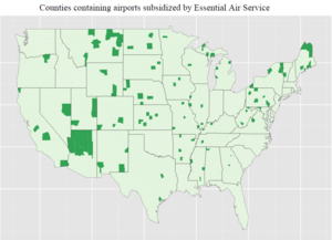 Public service obligation - Areas in the continental United States served by the Essential Air Service.