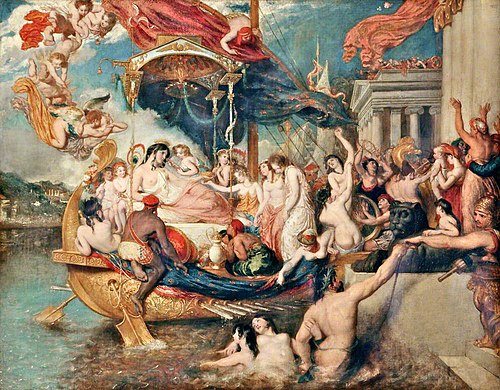 The Triumph of Cleopatra (1821), by William Etty, now in the Lady Lever Art Gallery, Port Sunlight, England Etty Cleopatra.jpg