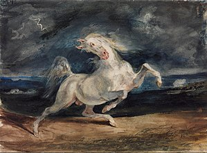 Horses in art - Eugene Delacroix, Horse Frightened by Lightning, 1825-29, watercolour, lead white on paper, 23.6 x 32 cm, Museum of Fine Arts, Budapest
