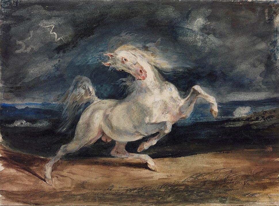 Eugene Delacroix - Horse Frightened by Lightning - Google Art Project