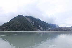 1958 Lituya Bay megatsunami - The effect of the tsunami still visible in 2010. Differently-aged vegetation visible on the ridge separating Lituya Glacier from the main part of the bay – looking north from the head of the bay, Lituya Glacier to the right.
