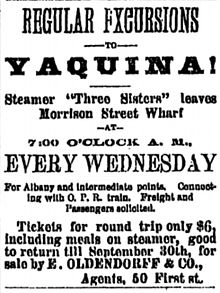 Advertisement for excursions to Yaquina Bay, carried in part by Three Sisters, July 20, 1887 Excursions to Yaquina advertisement 1887.jpg