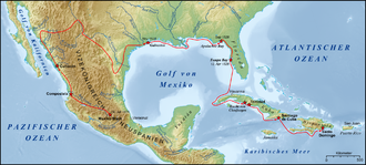 Narváez expedition - The approximate route of the Narváez expedition from Santo Domingo. From Galveston in November 1528, Cabeza de Vaca, Alonso del Castillo Maldonado, Andrés Dorantes de Carranza and Estevanico traveled for eight years on foot across the Southwest, accompanied by Indians, until reaching present-day Mexico City in 1536.
