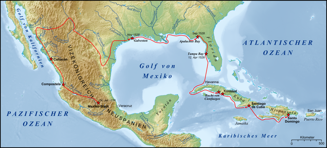 Route of Narvaez expedition (until November 1528), and a reconstruction of Cabeza de Vaca's later wanderings Expedition Cabeza de Vaca Karte.png