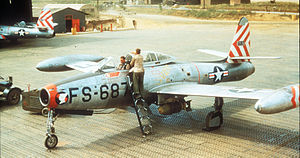 F-84E 9th FBS before mission in Korea c1952.jpg