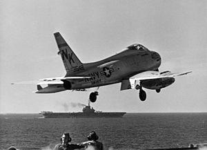 VA-144 (U.S. Navy) - Image: FJ 4B VA 144 launching from USS Ranger (CVA 61) 1959